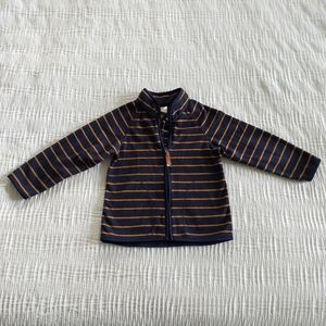 Boy Navy Tan Zip Front Fleece Casual Jacket 2t